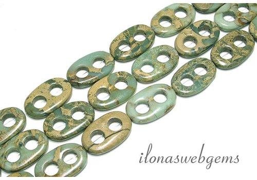 Serpentin Perlen ca. 35x22x6mm