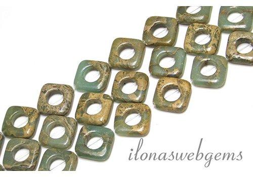 Serpentin Perlen ca. 16x16x4.5mm