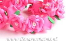 6 Stücke Fimo Lehmblume (bead) Rosa