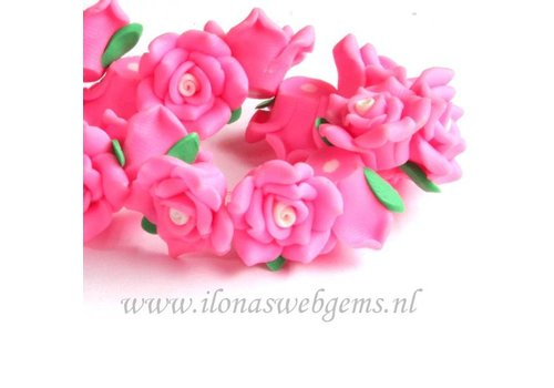 6 pieces Fimo clay flower (bead) pink
