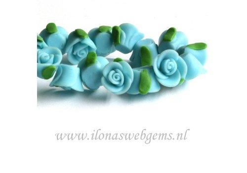 10 stuks Fimo klei roosje (kraal) turquoise