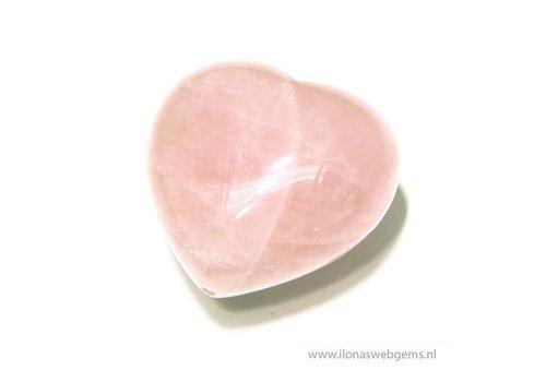 Rosenquarz hart knuffelsteen