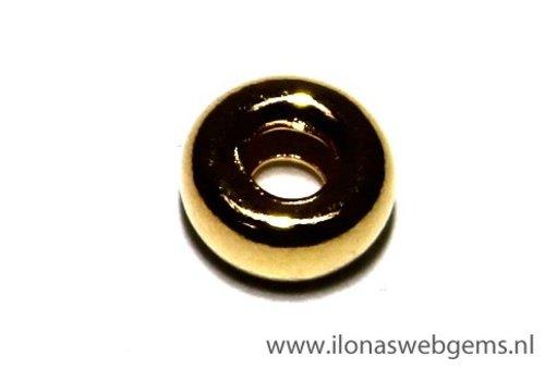 Vermeil Rondelle große Loch-Korne ca. 5.5x2.8mm