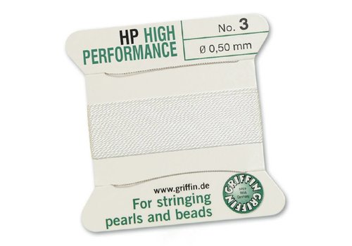 WHITE: Griffin Rijgdraad High Performance 0.50mm No. 3