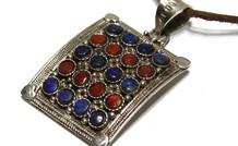 Sterling zilveren Tibetaanse hanger met Lapis lazuli en Koraal