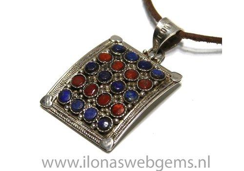 925/000 Silber Tibetanische Anhänge rmit Lapis Lazuli und Koralle