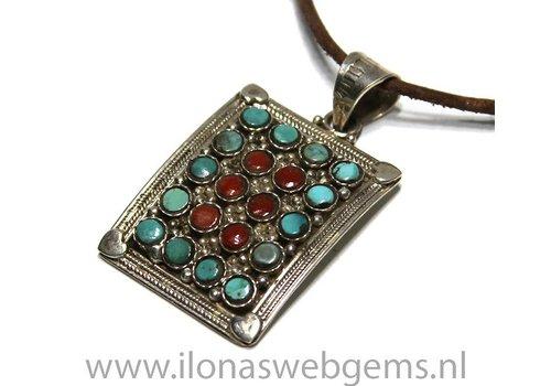 925/000 Silber Tibetanische Anhänger mit Türkis und Koralle
