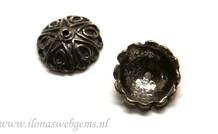 2 stuks sterling zilveren kralenkap antiek look