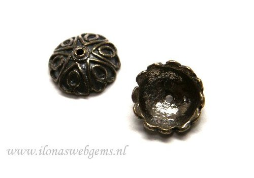 2 pieces sterling Silver beadskap antique look app. 12x5mm