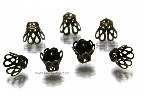 10 stücke alt brons   Perlenkapje ca. 8x7mm