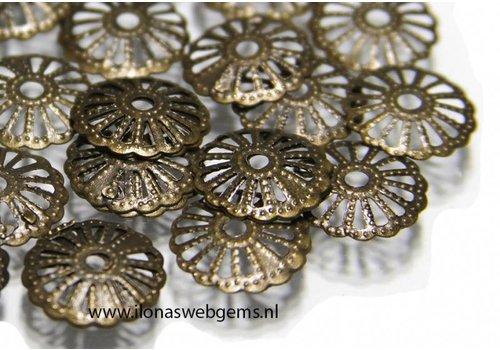 10 stücke Perlenkapjes alt Kupfer ca. 13mm