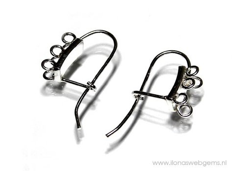 1 pair Sterling Silver Ear Hooks with 6 eyes app. 23mm