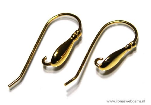 1 pair Vermeil Ear Hooks app. 28x11mm