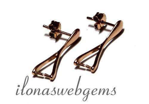 1 paar Rosé vermeil oorstekers met Bail/hanger clasp