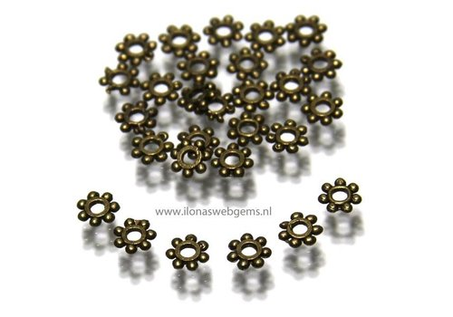250 stuk Daisy spacer brons ca.4x1mm