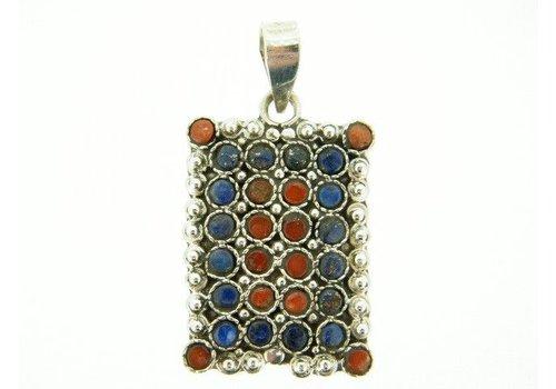 925/000 Silber Tibetanische Anhänger mit Lapis Lazuli und Koralle