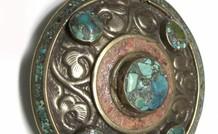 Tibetaans zilveren hanger met Bloedkoraal en Turkoois