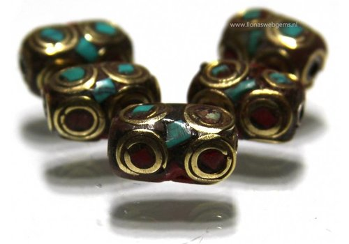 5 stücke Tibetanische messing Perle mit Koralle und Türkis