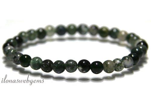 Moss agate beads bracelet 6mm ca.