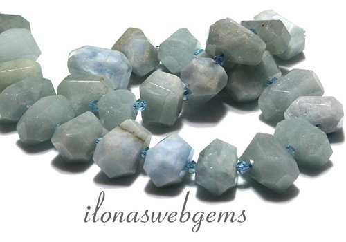 Aquamarine beads free shape facet