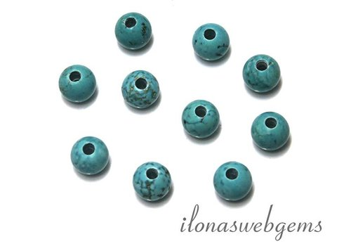 10 pieces Howlite beads round with great Inside hole