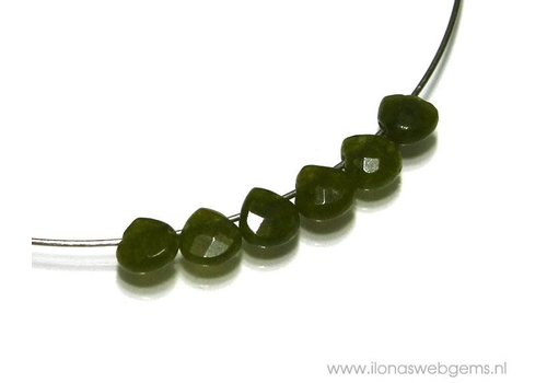 6 Jade druppels facet plat