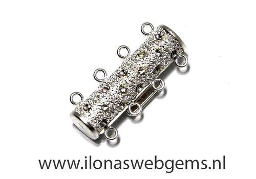 Sterling zilveren slotje 4 rij ca. 23x11mm