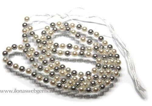 Shell Pearl White en Silver round 5mm XXLong!