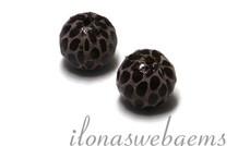 Echt leren / lederen  Perle rund braun - Roza ca. 12mm