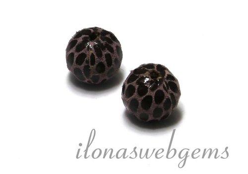Echt leren / lether bead round brown - pink app. 12mm