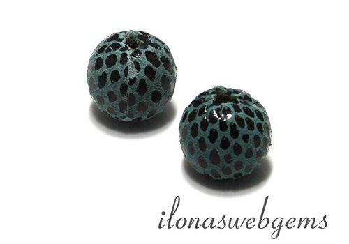 Echt leren / lederen  Perle rund blau ca. 17mm