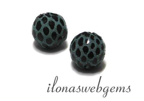 Echt leren / lederen  Perle rund blau ca. 12mm