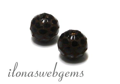 Echt leren / lederen  Perle rund braun ca. 12mm