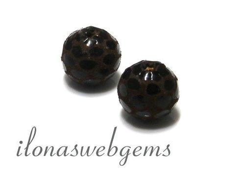 Echt leren / lether bead round brown app. 12mm