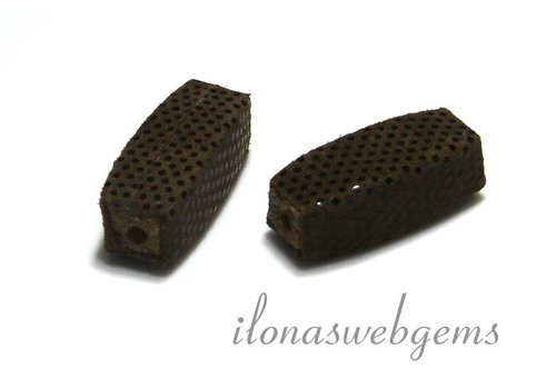 Echt leren / lether bead brown app. 25x10mm