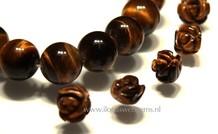 5 stücke Tigeauge Rose  Perle ca. 12x10mm