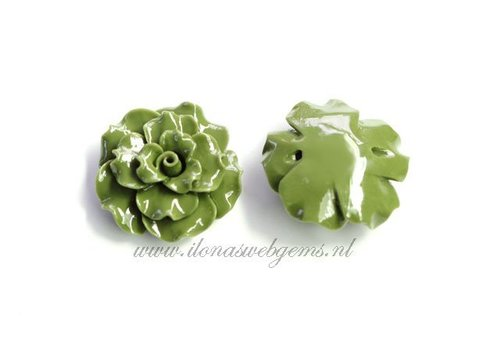 Coral roos bead green app. 30x14mm