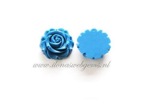 Coral roses pendant blue