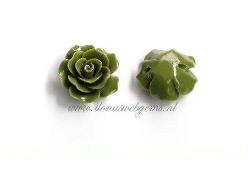 4 stuks Koraal roos kraal groen