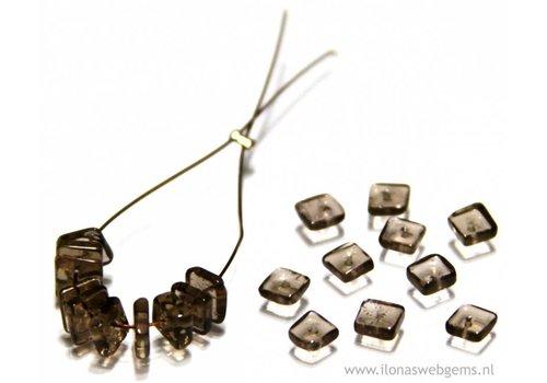 20 pieces Smoke Quartz bead square app. 5x5mm