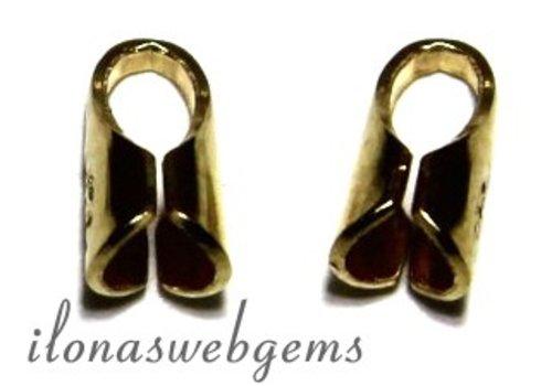 10 stuks Gold plated Eindkapjes voor leer 2mm