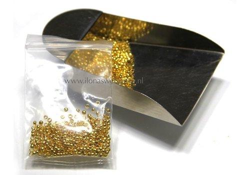 Knijpbeads round goldcolor