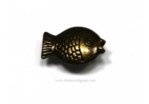 10 pieces old koper Fish app.11x8x4mm