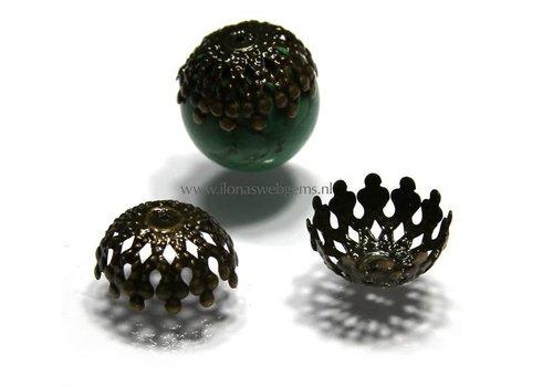 10 pieces beadskap old Brass app. 17x9mm