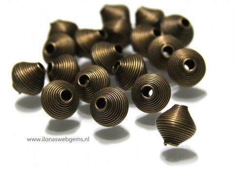 20 pieces old brass spiraal