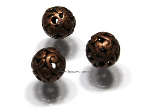 5 stuks bronzen kraal rond ca. 11mm