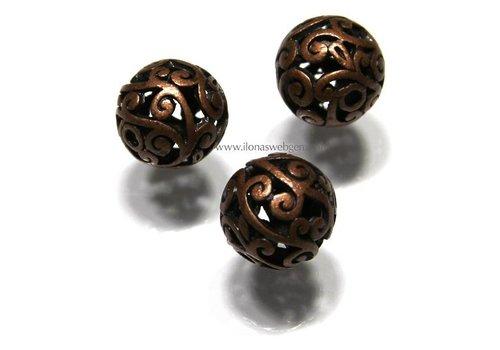6 stuks bronzen kraal rond