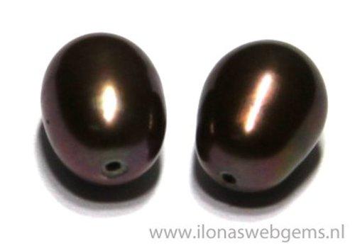 1 pair Fresh Water Pearls half pierced app. 9x7mm