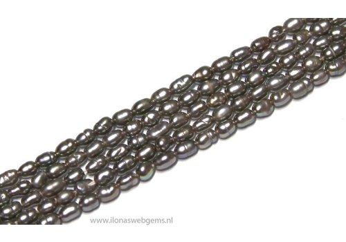 Mini Rijstpareltjes Silber-grau ca. 3.5x2.5mm AA Qualität