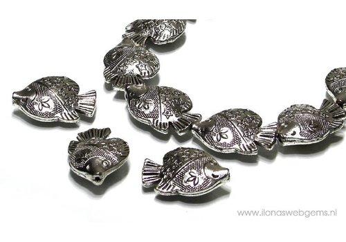 tin Fish beads 14 pieces app. 29.5x21mm